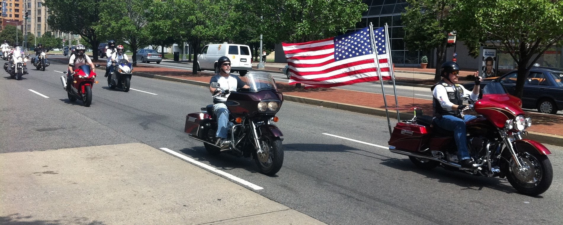 Motorcycle Rally. American Flag in the background. Memorial Day Celebration